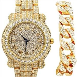 Mens Watch with Matching Iced Bracelet 2 pcs